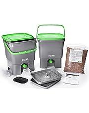 Skaza – mente su eco Bokashi Organico doble sistema 2 x 3,5 galones cubos con sujetador activo y accesorios- sostenible e innovador contenedor de residuos orgánicos – Kit de compostaje