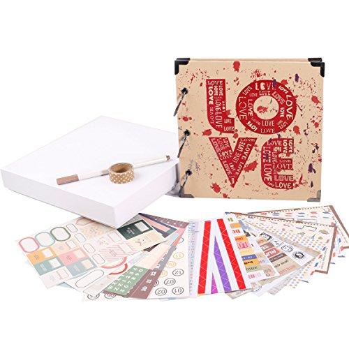 FaCraft Vintage LOVE Scrapbook Album for Valentine's Day,Wedding,Guest Book (Love,8x8inch)