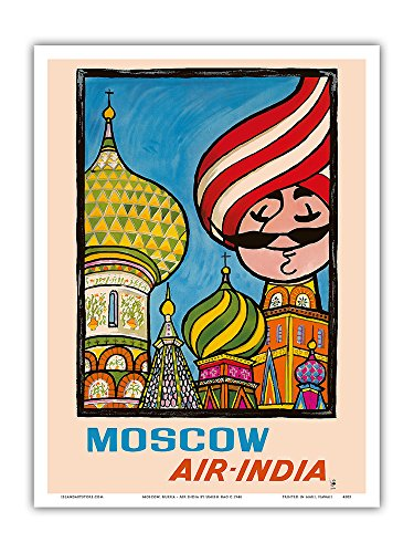 (Moscow, Russia - Air India - Saint Basil's Cathedral - Air India's Mascot Maharajah - Vintage Airline Travel Poster by Umesh Rao c.1946 - Master Art Print - 9in x 12in)
