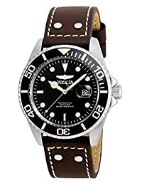 Invicta Men's 'Pro Diver' Quartz Stainless Steel and Leather Automatic Watch, Brown (Model: 22069)