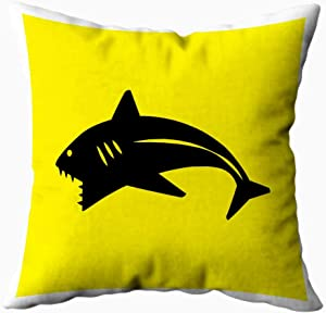KIOAO 20X20 Pillow Case, Standard 20X20Inch Soft Square Throw Pillowcase Covers Fall Pillow Cover Shark Icon Printed with Both Sides,Halloween