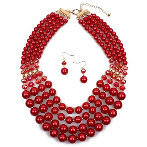 - Jewellery Sets for Women Artificial Pearl Necklace And Earrings Jewelry Set Jade Ring Women's Fashion Jewelry Jewelry Pendant Imitation Pearl Necklace Chunky Statement Bib Necklace Multicolor Optional