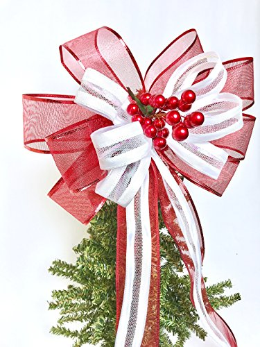 Christmas Bow Wreath Hanger - Wreath Bow, Red White with Berry pick Tree Topper, Red and White Large Gift Bow, Wreath Bows, Holiday Bow, Home Decor, Christmas Bows, Swag Bow,- Handmade Bow