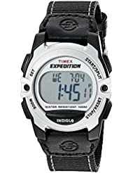 Timex Unisex T49957 Expedition Mid-Size Digital CAT Black/Silver-Tone Nylon Strap Watch