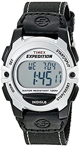 Timex Unisex T49957 Expedition Mid-Size Digital CAT Black/Silver-Tone Nylon Strap Watch (Chrono Watch Sport)