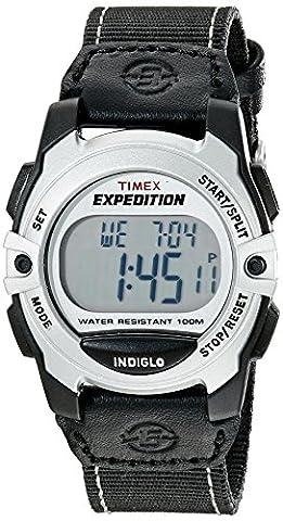 Timex Unisex T49957 Expedition Mid-Size Digital CAT Black/Silver-Tone Nylon Strap Watch - Chrono Classic Ladies Watch
