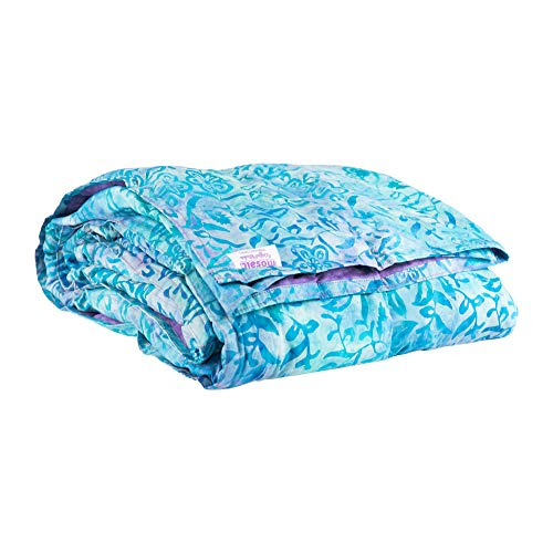Mosaic Weighted Blankets Adult Blanket Parent (Blue and Purple Batik, 38x60 7 lbs)