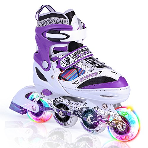 Kuxuan Kids Doodle Design Adjustable Inline Skates with Front and Rear Led Light up Wheels, Comic Style Rollerblades for Boys and Girls - Purple M