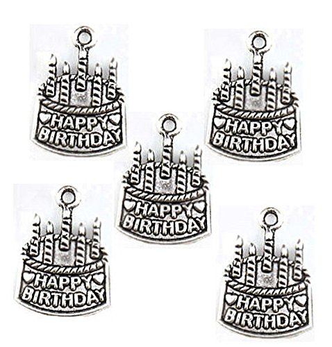 (6 Happy Birthday Charms Antique Silver Tone Cake with Candles - SC1805 Jewelry Making Supply Pendant Bracelet DIY Crafting by Wholesale)