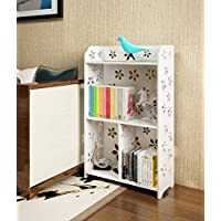 Mybestfurn Waterproof Fireproof Multipurpose Bookcase, 3-Shelf Storage Organizer For Home Office,Living Room, Kids Room, Garden 19X8.5X32 Inches White 203C