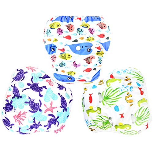 Langsprit 3 Pack Swim Diaper for Baby & Toddle,Reuseable Washable Diaper Swim...