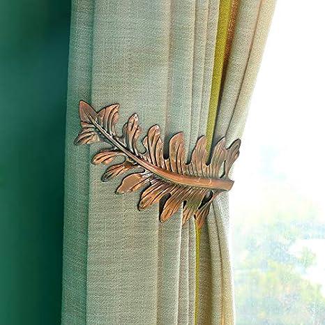 Wetietir Curtain Tieback,1 Pair U Shape Leaves Curtain Hook Wall Mount Hook Bronze