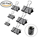 120 Pcs Binder Clips Paper Clamp Clips Paper Binder Assorted 6 Sizes for Students Teachers Schools Office Home Supplies, Black