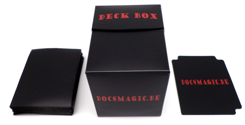 docsmagic.de Deck Box Big + 100 Double Mat Black Sleeves Standard - Caja &