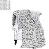 warmfamily Nursery Oversized Travel Throw Cover Blanket Wild Animals Set in Coloring Book