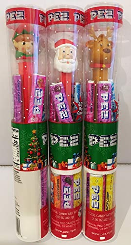 Christmas Holiday Pez Dispenser Bundle of 3 Tubes: Santa, Reindeer, and Elf