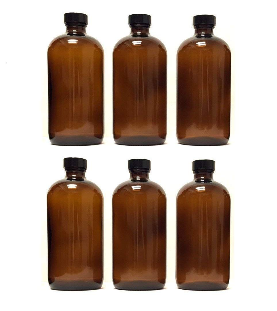 Boston - Botella redonda de vidrio ámbar con tapa y embudo (6 unidades)