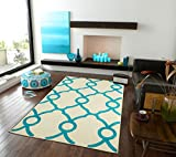 Modern Rugs Moroccan Trellis Area Rug Carpet White with Blue Lines, 5x8