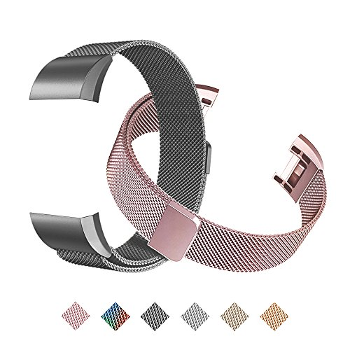 Tecson Magnetic Bands Compatible Fitbit Charge 2 (Pack of 2), Stainless Steel Metal Milanese Replacement Strap with Magnet Lock for Fitbit Charge 2, Rose Pink and Black