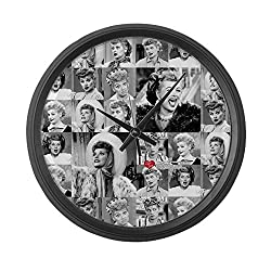 CafePress - I Love Lucy Face Collage - Large 17 Round Wall Clock, Unique Decorative Clock