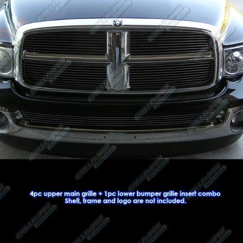 Grille Ram Billet 05 Dodge - Fits 2002-2005 Dodge Ram Regular Model Black Billet Grille Grill Insert Combo #D87999H
