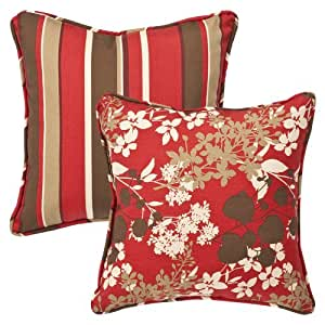 Pillow Perfect Decorative Red/Brown Floral/Striped Toss Pillows, Square Reversible, 18-1/2 Length, 2-Pack Outdoor, Home, Garden, Supply, Maintenance
