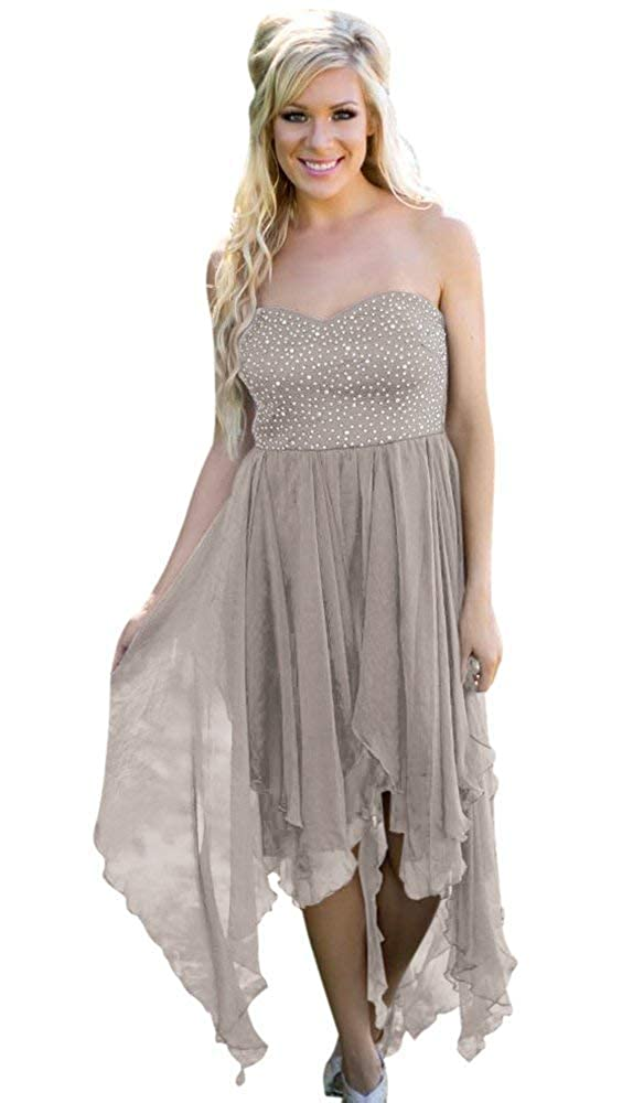 Silver ModeC Homecoming Dress HiLo Beaded Wedding Cocktail Party Prom Dresses