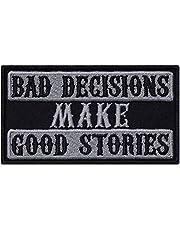 Bad Decisions Make Good Stories – patches op biker patch rocker strijkplaatjes zware metalen sticker cadeau motorfiets bestuurder DIY applicatie voor jas/vest/jeans/boots/motorkoffer 90 x 50 mm