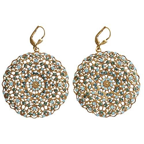 Catherine Popesco Goldtone Filigree Round Large Lace Medallion Earrings, Pacific Blue 9702BG