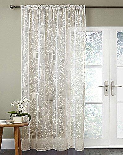 Cream Sheer Voile Curtain Panel With Flock Birdcage Design 55quot