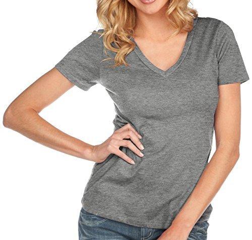 Kavio! Women Sheer Jersey Deep V Neck Short Sleeve Dark Heather Gray L Womens V-neck Heather
