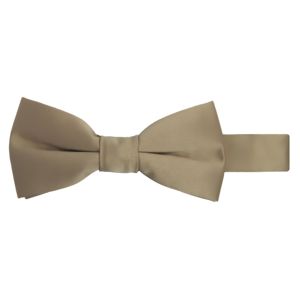 Jacob Alexander Boy's Kids Pretied Banded Adjustable Solid Color Bowtie - Tan JPSBTB045
