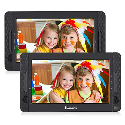 NAVISKAUTO 10.1 Dual Screen DVD Player Portable for Car with 5-Hour Built-in Rechargeable Battery, Last Memory and Region Free (Host DVD Player+ Slave Monitor)