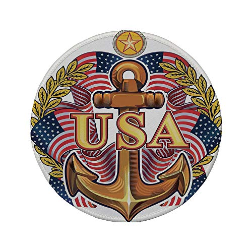 Non-Slip Rubber Round Mouse Pad,Anchor,Royal USA Anchor with American Flag Leaves and Star Force War Honor Medal Print,Multicolor,7.87