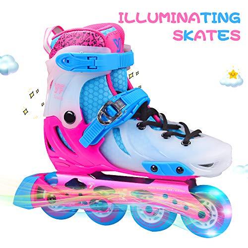 YF YOUFU Children Inline Skates, Adjustable Inline Skates with Light up Wheels, Roller Skates for Girls, Safe Durable Outdoor Beginner Illuminating Roller Skates for Kids