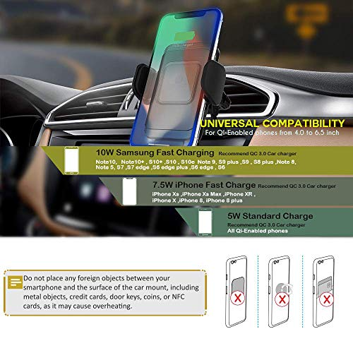 ZeeHoo Automatic Clamping Wireless Car Charger Mount,10W//7.5W Qi Fast Charging Car Phone Holder,Windshield Dashboard Air Vent Compatible with iPhone Xs MAX//XS//XR//X//8//8+,Samsung S10//S10+//S9//S9+//S8//S8+