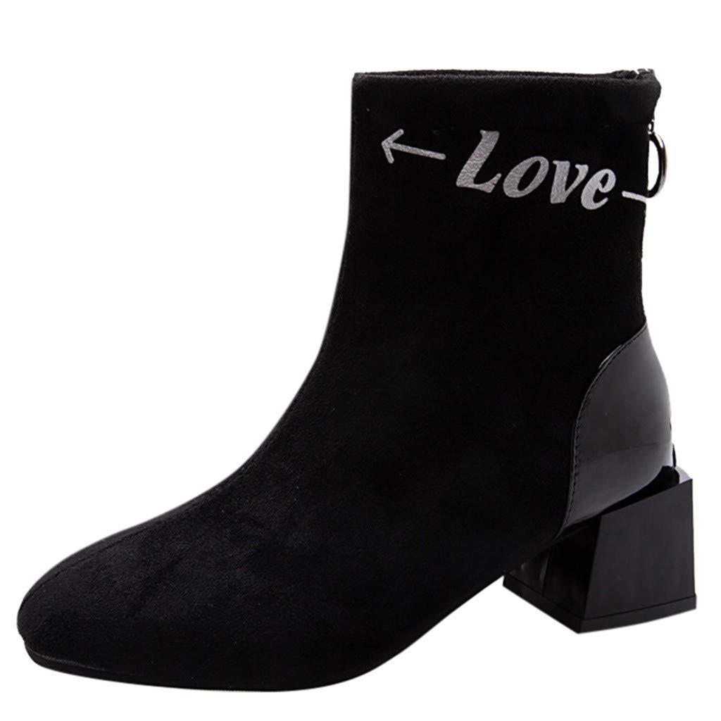 Redacel Fashion Women Autumn Suede Square Heel Short Booties Square Toe Shoes(38,Black by Redacel