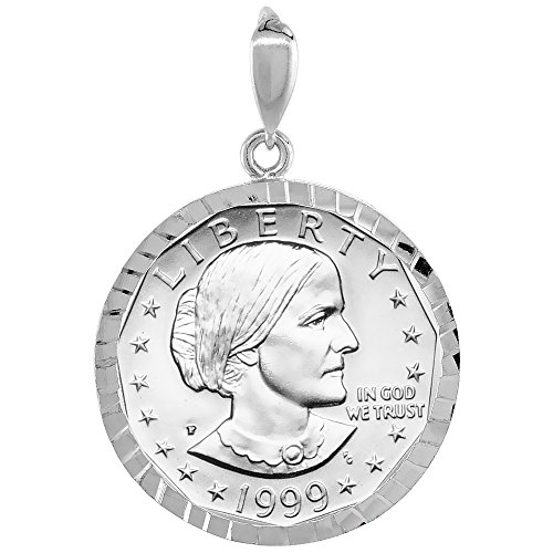 n B. Anthony Bezel Sacagawea 26 mm Coins Prong Back Diamond Cut ()