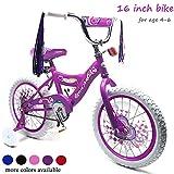 ChromeWheels 16 inch Kid's Bike for 4-6 Years Old, Training Wheels with Coaster Brake, Purple
