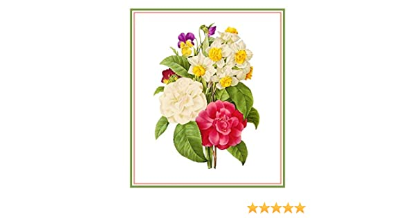 Flower Spring Bouquet Redoute Counted Cross Stitch Chart Pattern