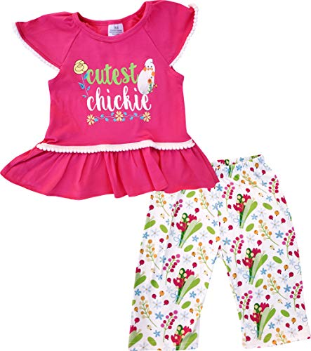 - Boutique Baby Girls Easter Cutest Chickie Capri Outfit Set Hot Pink 12-18M/2XS