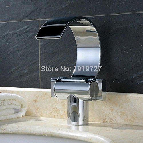 Design Mono Deck Mount - PST@ 100% Solid Brass Unique Design Polish Chrome Double Handle Deck Mount Waterfall Bathroom Sink Faucet Silver Basin Mixer Tap