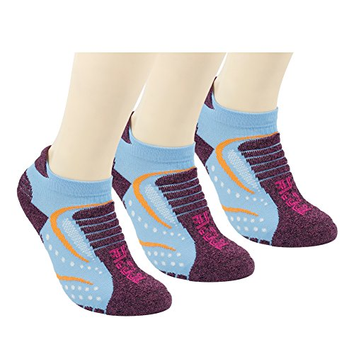 Facool Women's Comfortable Padded Athletic Tab Functional Cycling Running Hiking Walking Quarter Socks Lightweight 3 Pairs Blue&Purple Functional Three Light