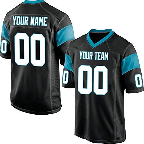 Customized Women's Black Mesh Football Game Jersey Embroidered Team Name and Your Numbers,White-Blue Size L