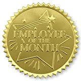 Rising Star Employee of the Month Embossed Gold Foil Certificate Seals, Self Adhesive, 102 Count