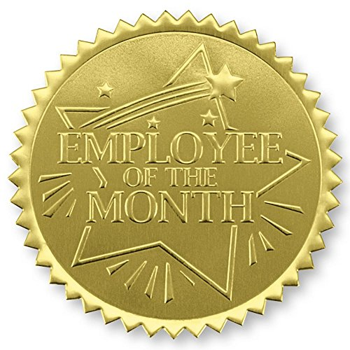 Rising Star Employee of the Month Embossed Gold Foil Certificate Seals, Self Adhesive, 102 Count -