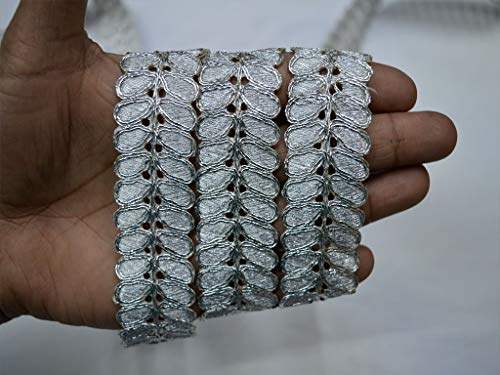 Wholesale Silver Metallic Trimmings Indian Laces by 9 Yard zari Thread Ribbon Trim for Dress Embellished Saree Border Traditional Trimmings Sewing Accessories