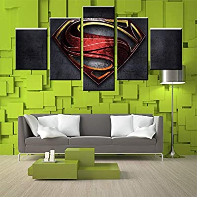 JSBVM 5 Paneles Pintura Mural de la Pared Imprimir en Lienzo Pel/ícula de Superman Imagen Ilustraciones para casa Moderno Decoraci/ón