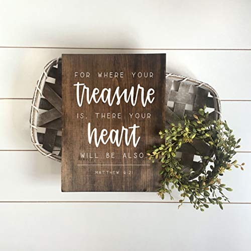Diuangfoong for Where Your Treasure is There Your Heart Will Be Also Matthew 621 Painted Scripture Wood Sign by Amy Lettering Desires Hopes