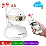 Home Camera,POWERIVER WiFi IP Indoor Security System with Motion Detection,Two-Way Audio & Night Vision for Baby / Pet / Front Porch Monitor,Remote Control with iOS,Android,PC App(Gold)
